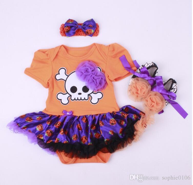 Halloween Baby Rompers Clothes Kid clothing Pumpkin sets Three pieces Headbands Shoes dress Kids Pumpkin dresses suits Cotton FK 001