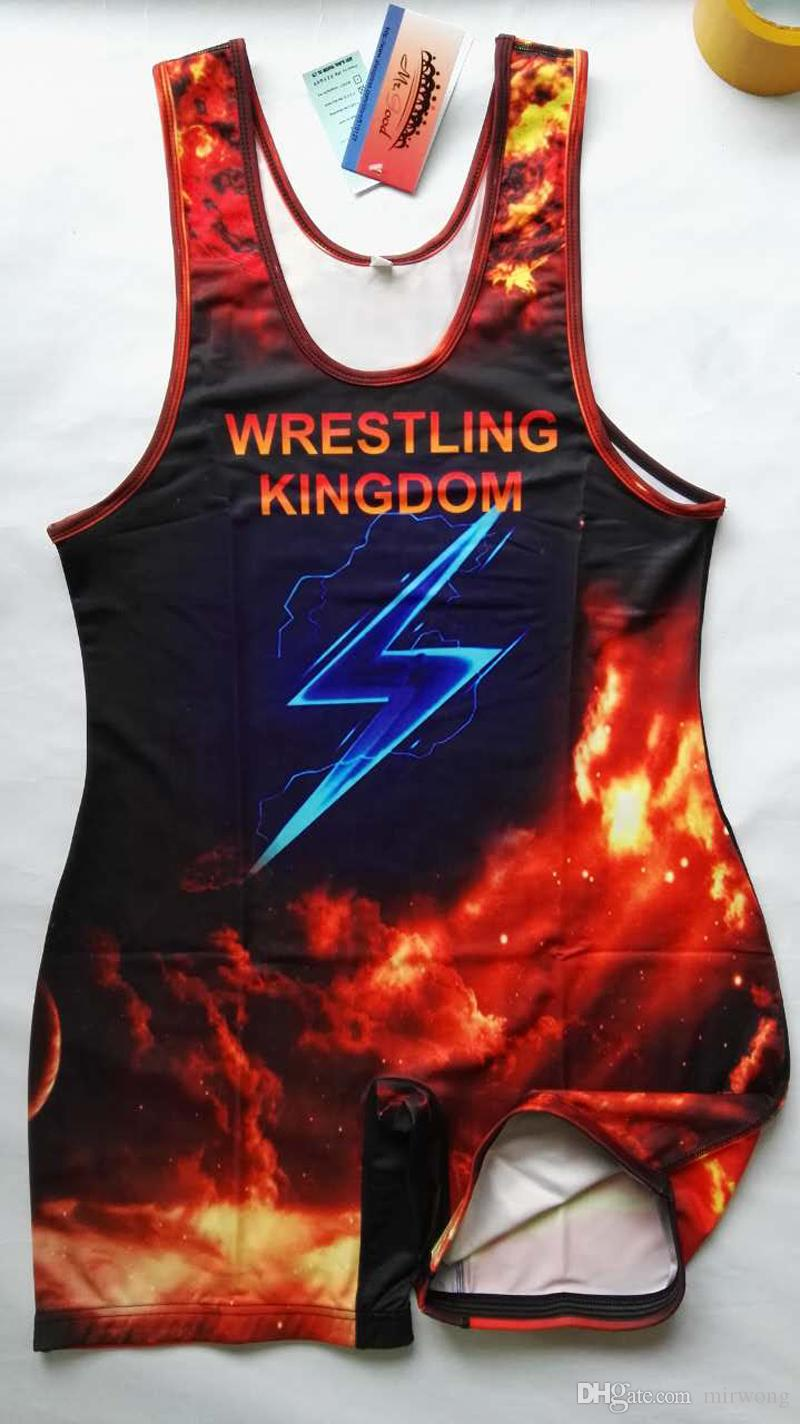 2016 Man Costume Wrestling Singlet Weight Lifting Gym Outfit Bodywear lightning wrestling singlet power wrestling suit for men