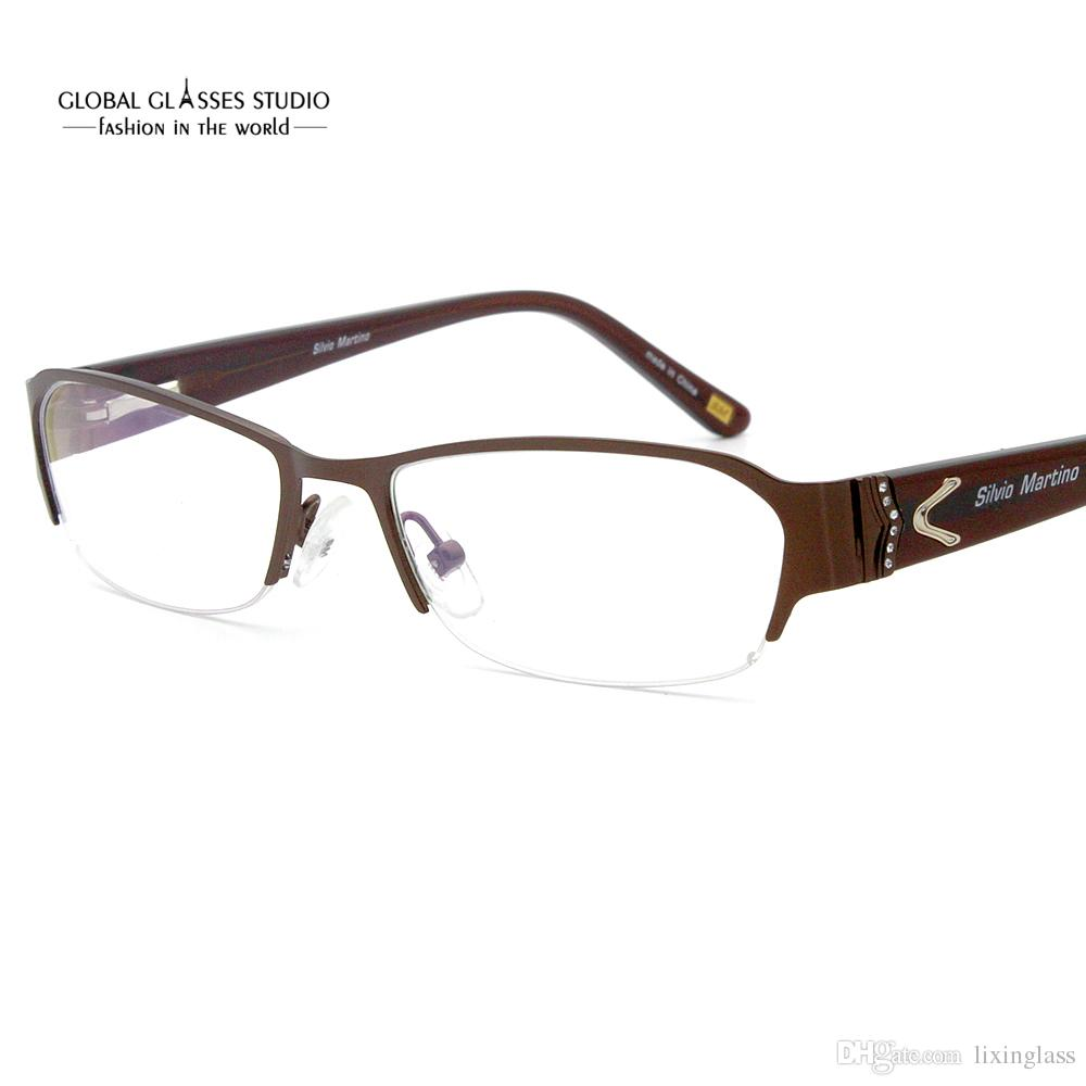 4aabc2eb06da7 Fashion Lady Butterfly Metal Frame Half Frame Shiny Stones Eyeglass Frame  BROWN GRAY SM4025 Optical Frame Rimless Metal Online with  56.63 Piece on  ...