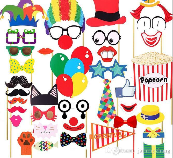 Circus mask camera props birthday party decoration clown red nose paper glasses hat Photo taking performance booth props