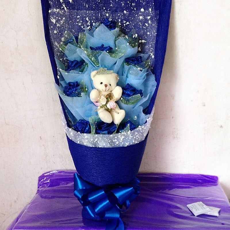 2019 Handmade Christmas Gift Artificial Rose Teddy Bear Cartoon