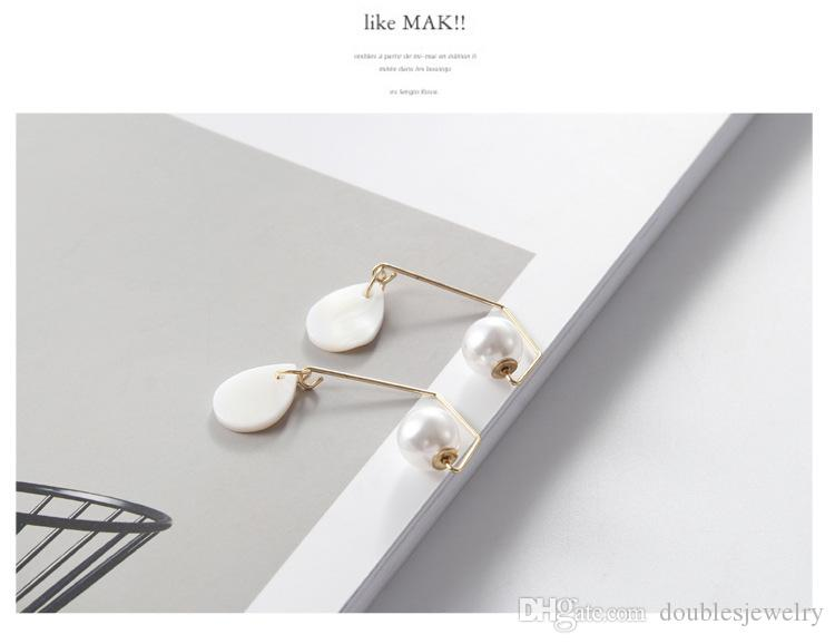 Europe and America hot style retro line shaped pearl drops white shellfish shell earrings ear line jewelry manufacturers direct sales