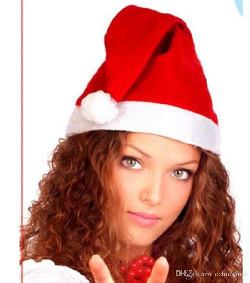 Echootime 2000 pz rosso Babbo Natale Cappello Ultra Morbido Peluche di Natale Cosplay cappelli di Natale Decorazione adulti Cappelli Del Partito di Natale Forniture