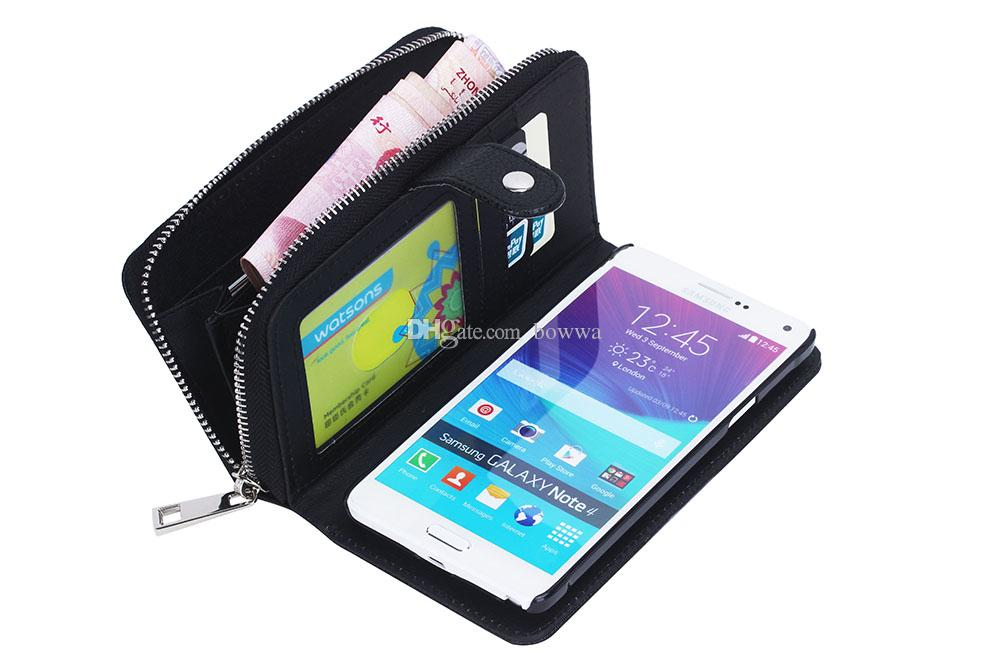 For Galaxy Note 4 S5 S4 S3 Multi-functional Zipper Billfold Wallet Leather Cell Phone Case with Card Holder Money Pocket for Samsung
