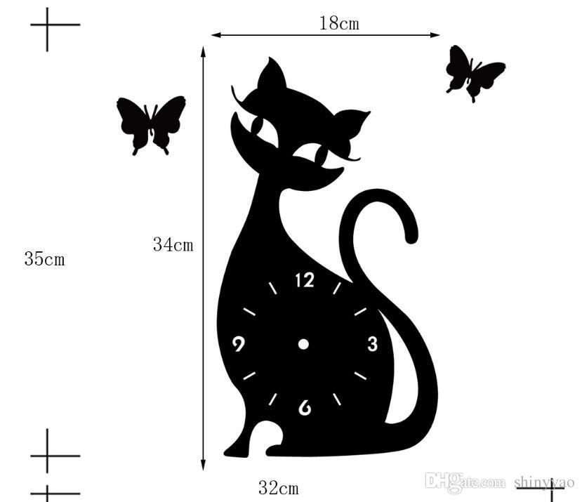 DIY espelho relógio de parede quarto sala de estar relógio de parede mudo sino cartoon bonito gato preto adesivos de parede