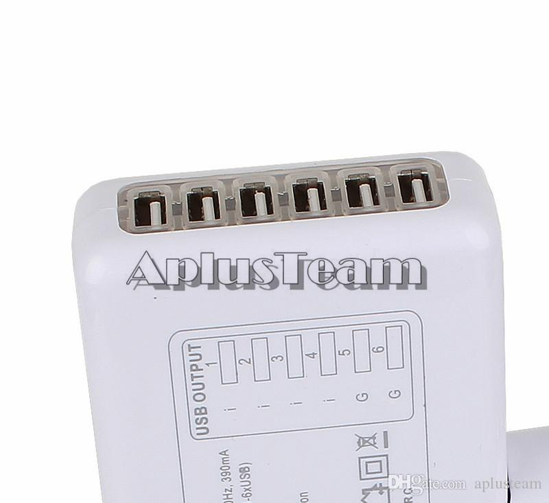 6 Ports USB AC Power Adapter US EU UK AU Plug Portable Travel AC Power Wall Charger for iphone 6s 5s Samsung S7 ipad HTC