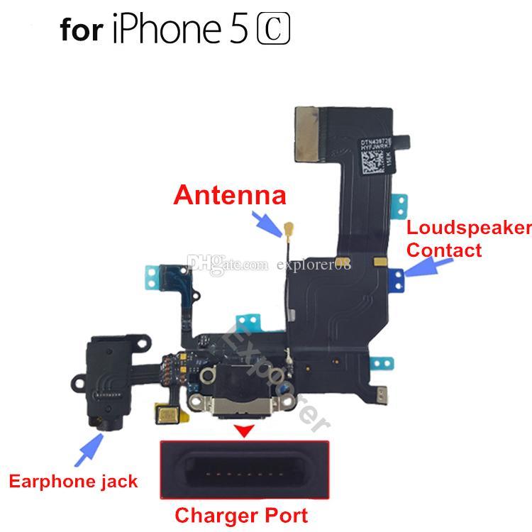 para iPhone 4 4s 5 5G 5s 5c 6 Plus USB Dock Connector Cargador Puerto de carga Cable flexible Auriculares Audio Jack mic Ribbon