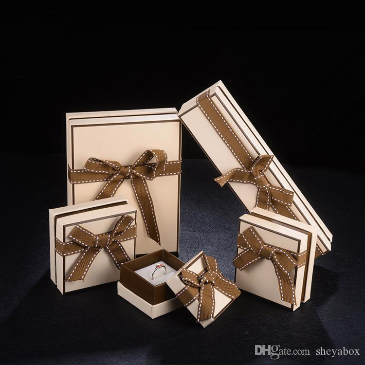 Jewelry Gift Wrapping Paper Box with Bow Knot Ring Necklace Pendant Bracelet Bangle Jewellery Set Packaging Boxes Elegant Design Custom Logo