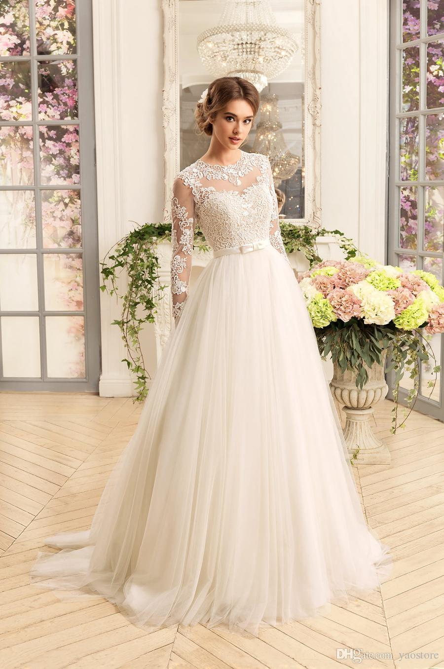 Discount Vintage Sheer Tulle Skirts Wedding Gowns 2016 Jewel ...