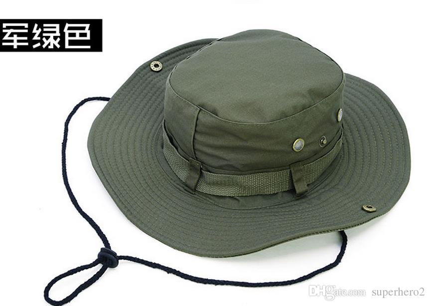 Canvas Camouflage wide-brimmed hat outdoor fisherman Bucket Hats Camo Wide Brim Sun Fishing cap Camping Hunting CS Tactical Gear xmas gift