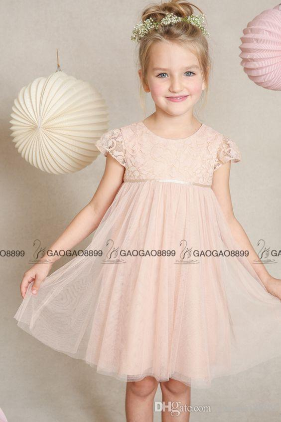 Jenny Yoo Toddler Little Girls Big Girls Blush Lace Tulle Abril Vestido de niña de flores Gorra de manga larga Hasta la rodilla Baratos Vestidos de niñas