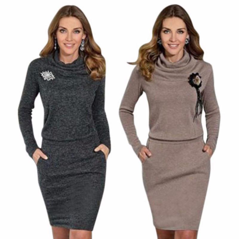 2018 Spring Women Plus Size Dress Sexy Winter Long Turtleneck Short