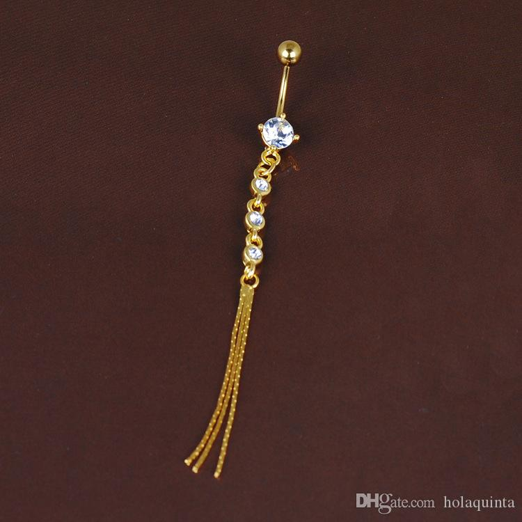 Long Metal Tassel belly Piercing de cristal de alta calidad Piercings Medical Steel Piercing largo de la joyería del cuerpo