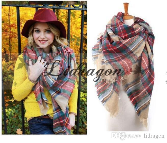 Regalo de Navidad mujeres bufanda de gran tamaño Tartan Bufanda Envuelto Mantón Plaid Cozy Checked Pashmina corlorful Mantones Pashmina Bufanda M219-18