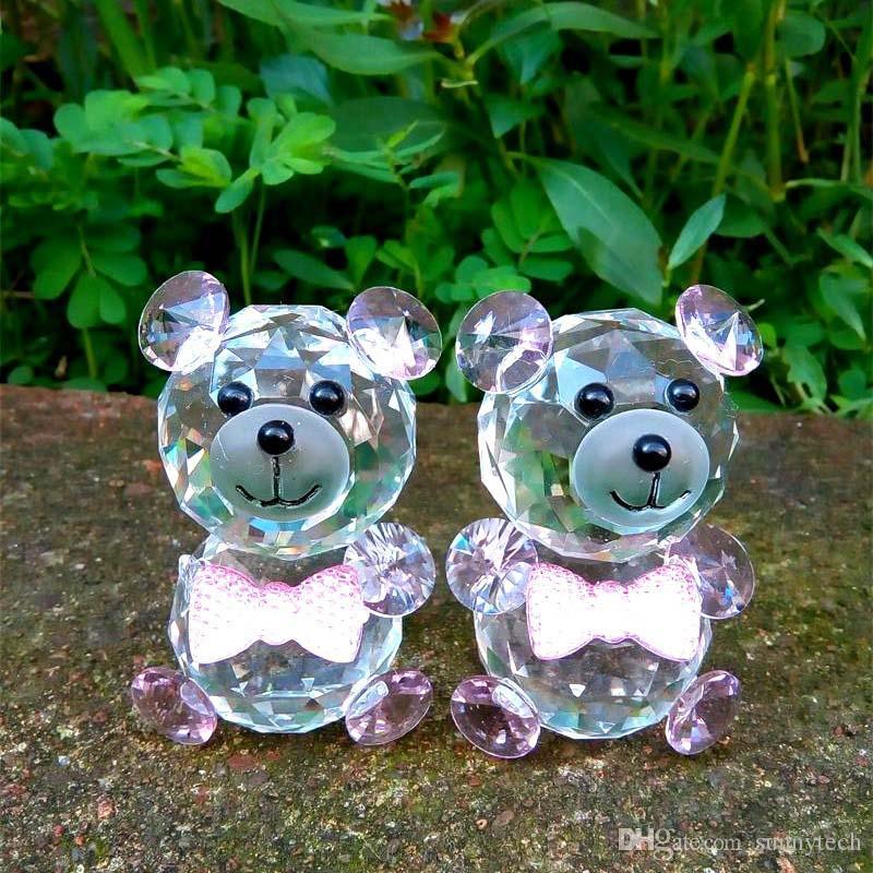 Crystal Glass Animals Bear miniature figurines Feng shui Miniatures Desk Ornaments Christmas nativity figurines Crafts LZ0044