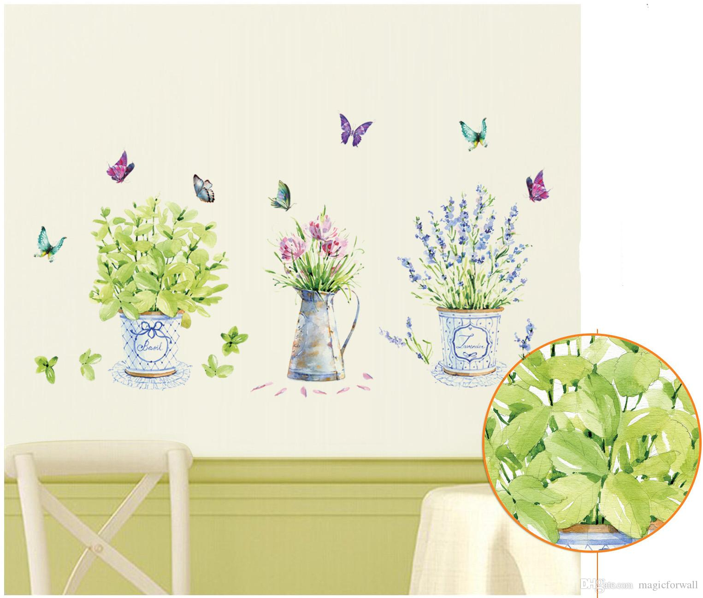 Cartoon Flowerpot Butterfly Wall Decals Green Nature Bonsai Wall Stickers for Kitchen Room Window Glass Bathroom Decor Potted Flowers Birds