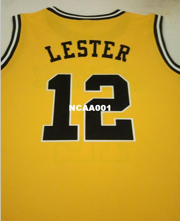 Men 12 Lester Iowa Hawkeyes College Basketball Jersey Yellow