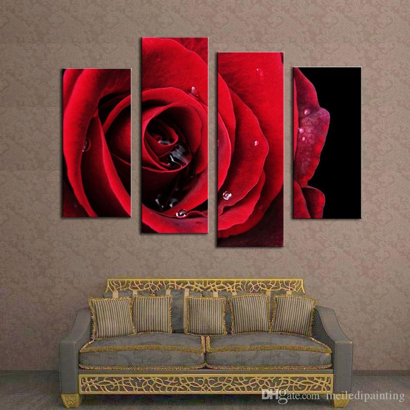 Amosi Art-Flower Paintings Red Rose Modern Wall Painting Canvas Wall Art Picture Canvas Print Painting with Wooden Framed