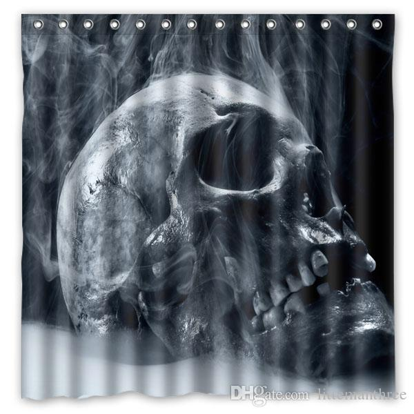 2019 Dark Skull Horror Scary Creepy Design Shower Curtain Size 180 X Cm Custom Waterproof Polyester Fabric Bath Curtains From Littemanthree