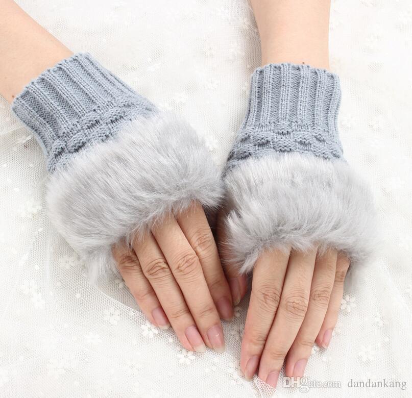 Женщины девушка трикотажные искусственного меха кролика Перчатки Рукавицы зима длина руки теплее открытый пальцев перчатки красочные рождественские подарки
