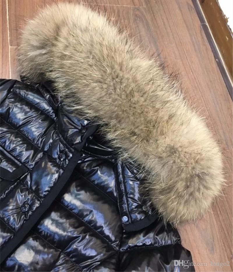 Qulity M Brand Winter Down Jacket Women Short Warm Coat Black Real Raccoon Fur Hooded Female White Duck Down Coats