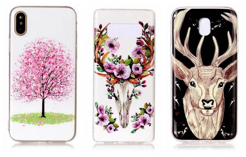 Flower Giraffe Glow In dark Soft TPU Case For iphone X Galaxy Note8 Note 8 J7 J5 J32017 Luminous Skull Butterfly Owl Cartoon Skin Cover