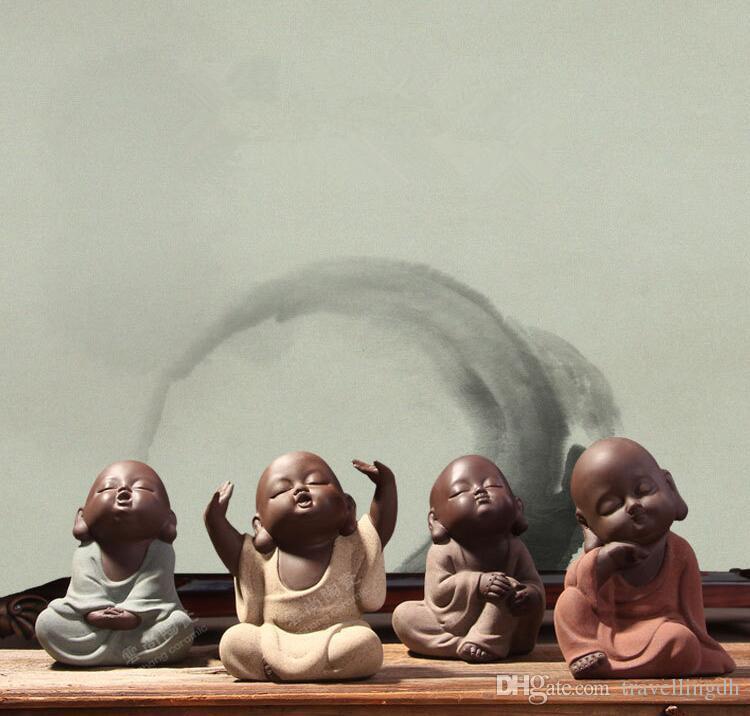 Chinesische Handgemachte Schöne Tee-Set Tee Haustier Lila Sand Buddha Mönch Tee Zubehör Auto Dekor Zisha Keramik Ornament Dekoration