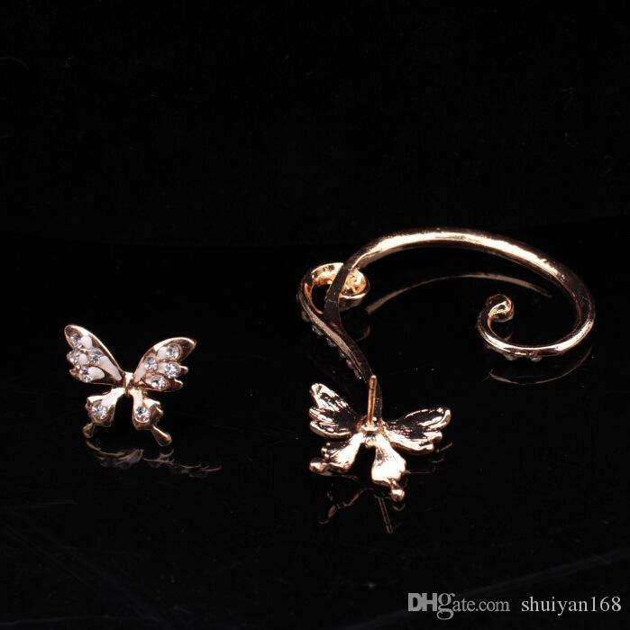 Orecchini a clip con diamanti a forma di farfalla Orecchini con orecchini a punta punk orecchini a clip in oro e argento