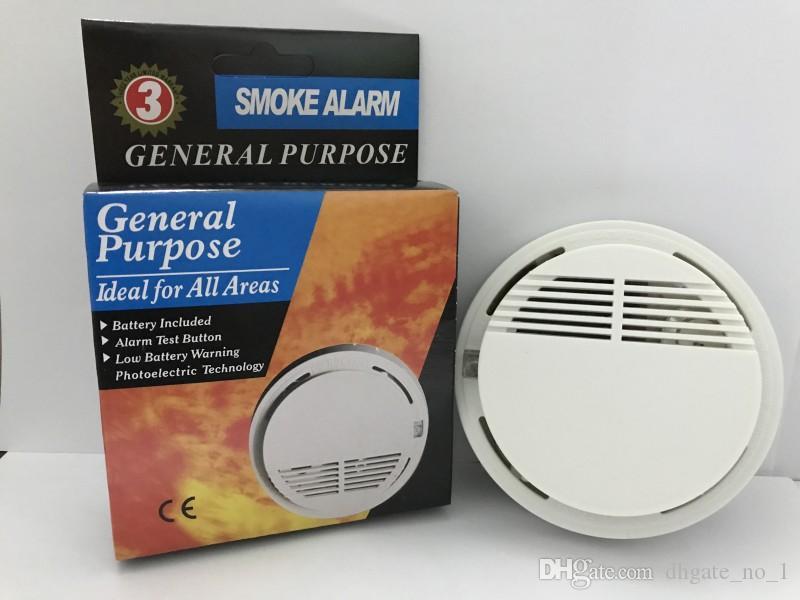 كاشف الدخان إنذار نظام الاستشعار انذار حريق مستقل للكشف عن لاسلكي الأمن الرئيسية حساسية عالية مستقرة LED 85DB 9V البطارية