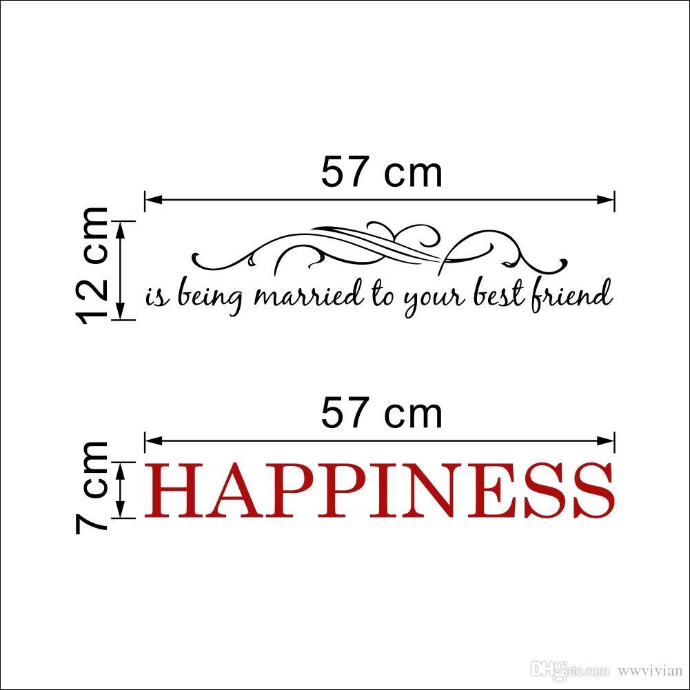 Le bonheur est d'être marié à votre meilleur ami citation de mur autocollant autocollant fleurs vignes tête de lit murale art mural bricolage décoration de la maison papier peint