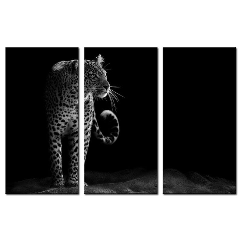 3 Picture Combination Wall Art Black And White Of A Leopard Staring At Night Painting Print On Canvas The Picture For Home Decor