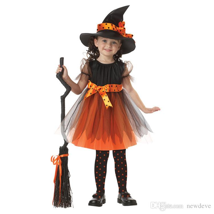 Little Black Halloween Cosplay Witch Wear Knee Length Magic Little Girls Dresses With Hat Costume Gowns For Kids In Stock