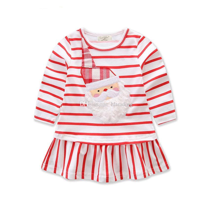 Bébé filles noël cerf père noël robe dessin animé enfants rayure princesse robes costume enfant noël C2573