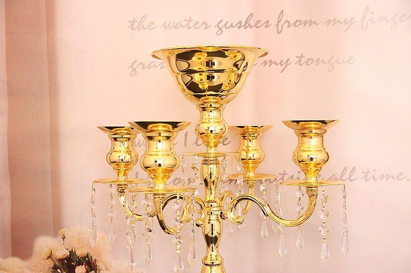 Toptan 75 cm yükseklik dekoratif metal boyunda düğün centerpiece