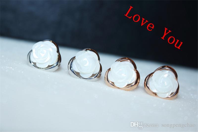 einfaches Entwurfs-Shell-Blumen-Ohrringe für Art und Weise Frauen-Weinlese-Luxus Gold überzogene Ohrringe Modeschmuck-koreanische Zusätze