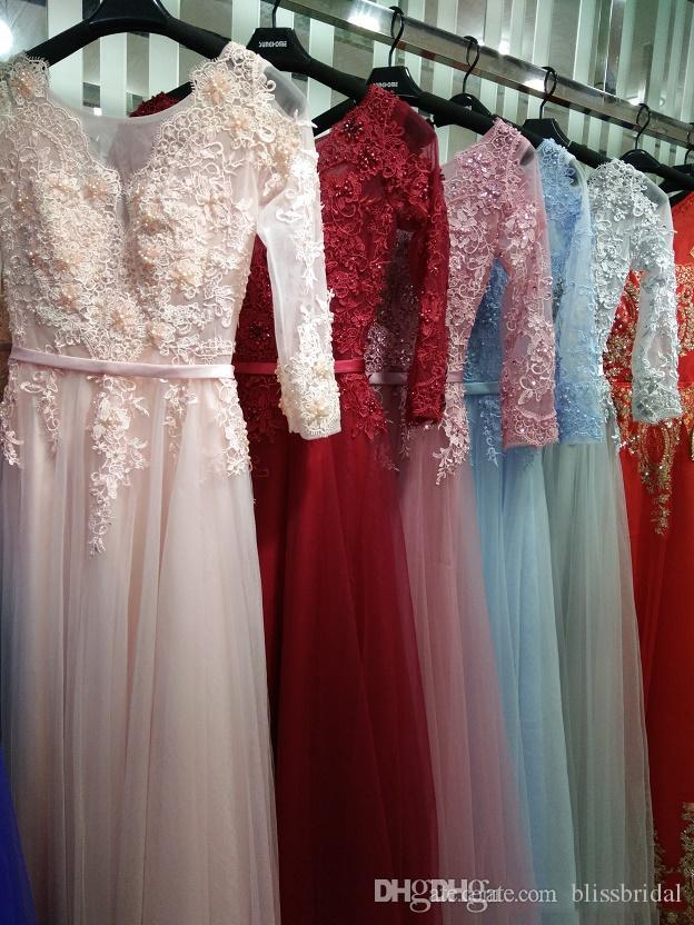 Sexy Illusion Abendkleider Spitze formale 2017 Echte Fotos Prom Kleider mit Applique Perlen Rundhalsausschnitt 3/4 Ärmeln unter 100