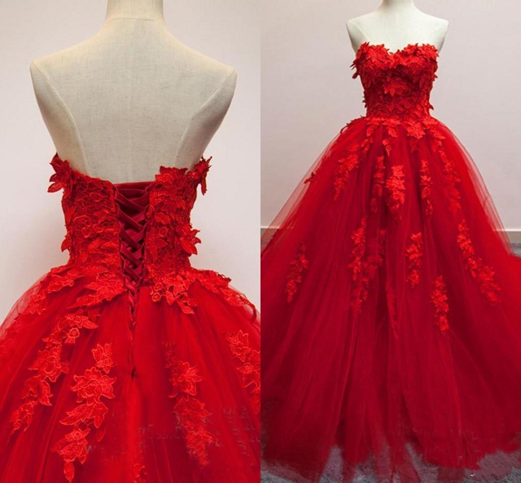 Vestidos de quinceañera con apliques rojos de quinceañera 2018 Vestidos de baile con espalda descubierta sin tirantes Hasta el tobillo Vestido de noche de tul suave y tallas grandes