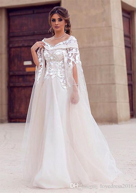 compre vestidos de novia Árabe modestos 2018 con apliques de tul con