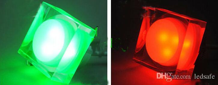1 واط فلوش جبل مصباح السقف أدى بقعة ضوء مطعم بغطاء أضواء الكريستال أسفل مصابيح أحمر أزرق أخضر دافئ أبيض بارد الأبيض للداخلية الديكور