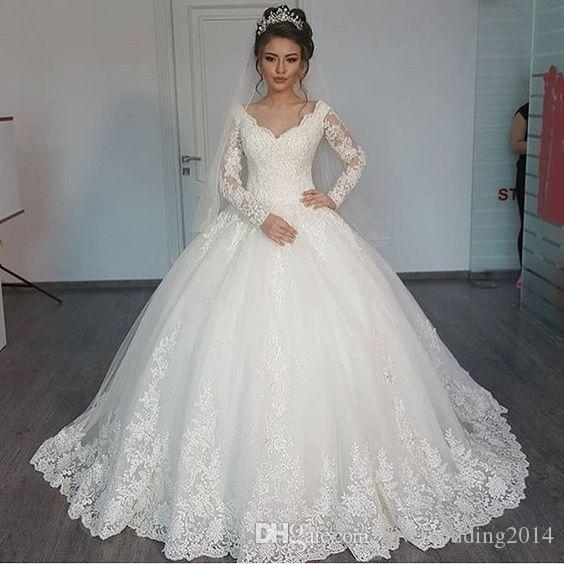 Vintage Lace Ball Gown Wedding Dresses 2018 Long Sleeved Bridal ...