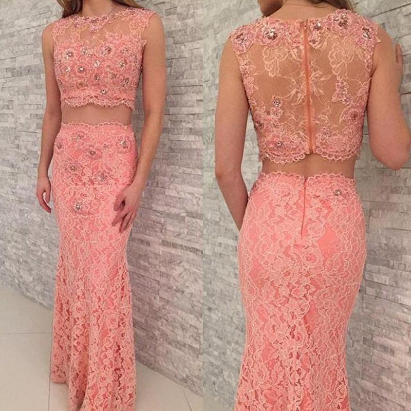 Vestidos de noite completos cor-de-rosa do laço duas partes vestidos do baile de finalistas com a bainha frisada de cristal