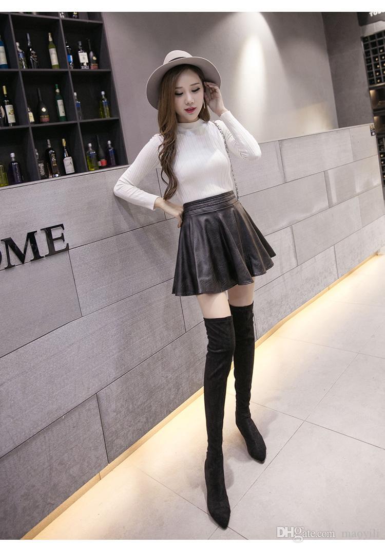 도매 새로운 패션 여성 가짜 가죽 귀여운 미니 스커트 Pleated A 라인 PU 봄 / 겨울 / 여름 다시 지퍼가 달린 치마 6XL 플러스 크기