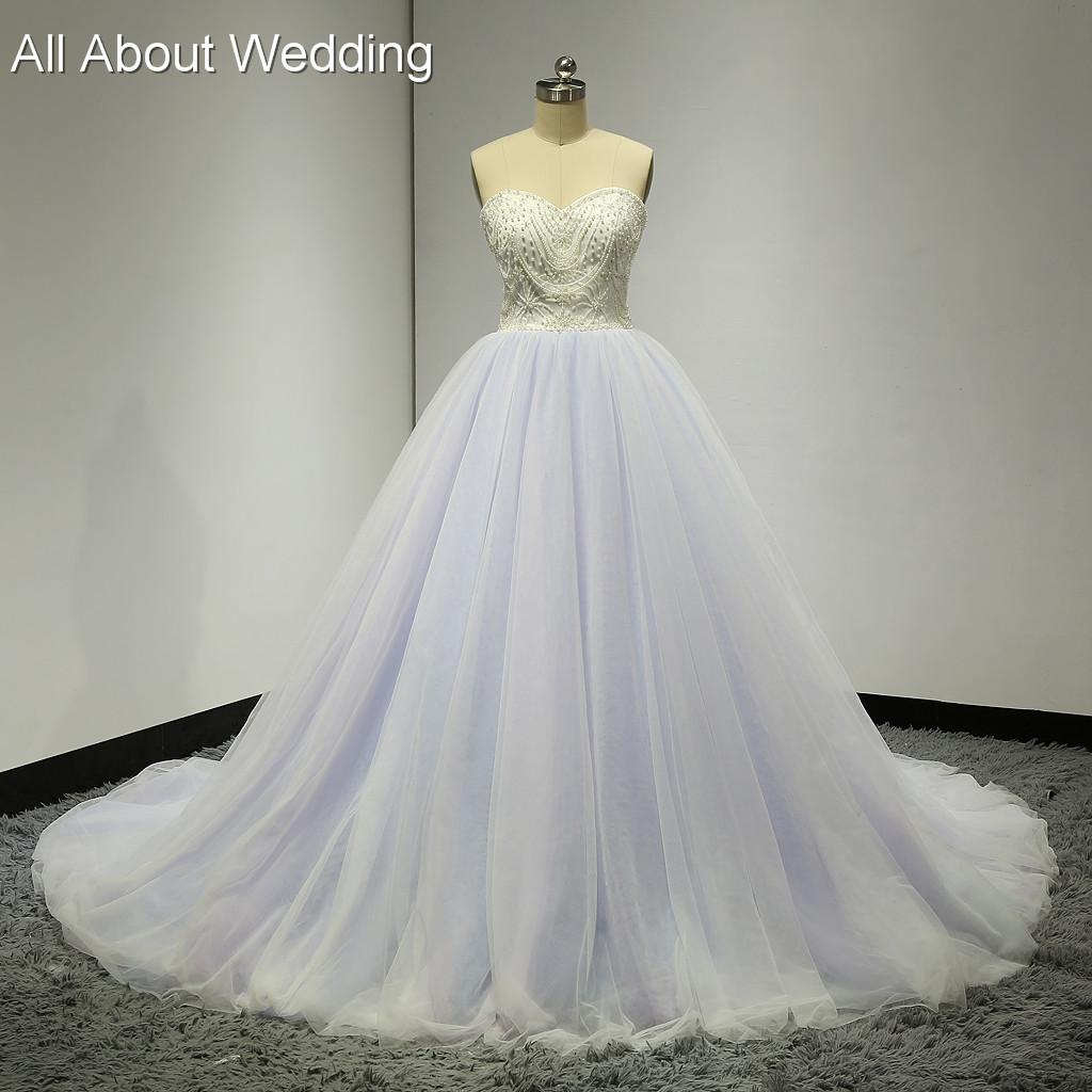Ball Gown Real Photos 2016 Spring Summer Sweetheart Colored Wedding Dresses Purple Pink Blue Tulle Layers