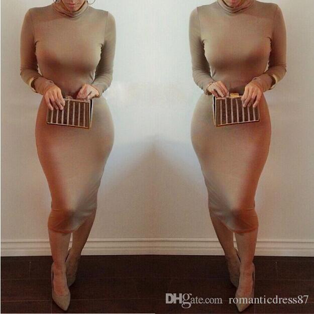 High Quality High Neck Sheath Long Sleeves White/Royal Blue/Red/Fuchsia/Champagne Purple Cheap Women's Casual Dresses