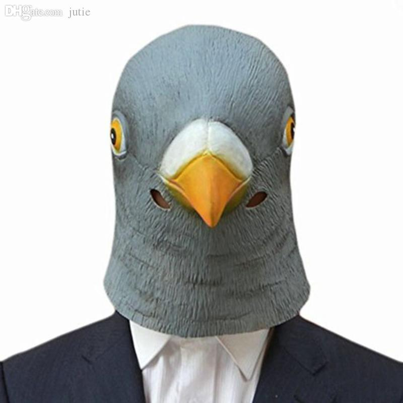 Wholesale-Creepy Pigeon Head Mask Latex Prop Animal Cosplay Costume Party Halloween Giant Bird Head Mask