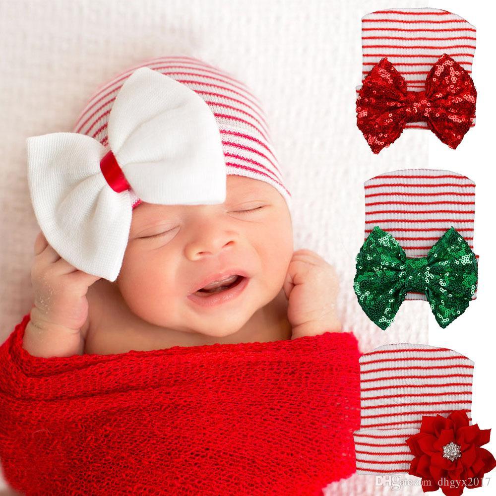 c878760611e8 Acheter Rayé Bébé Arc Chapeau Nouveau Né Bébé Infantile Enfant En Bas Âge De  Noël Bébé Chapeau Paillettes Bowknot Coton Tricot Beanie Infantile Rayé ...