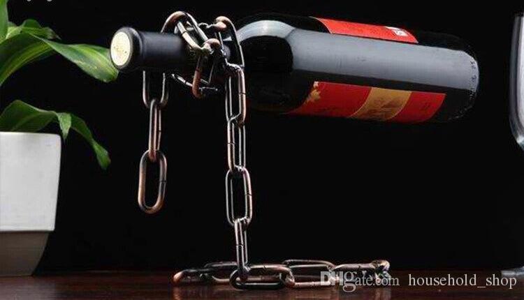 Kırmızı Şarap Şişesi 3 cm Ev Mobilya süsler Ücretsiz Nakliye Kırmızı Şarap Şişe Tutucu Yaratıcı Süspansiyon Halat Zincir Destek Çerçevesi