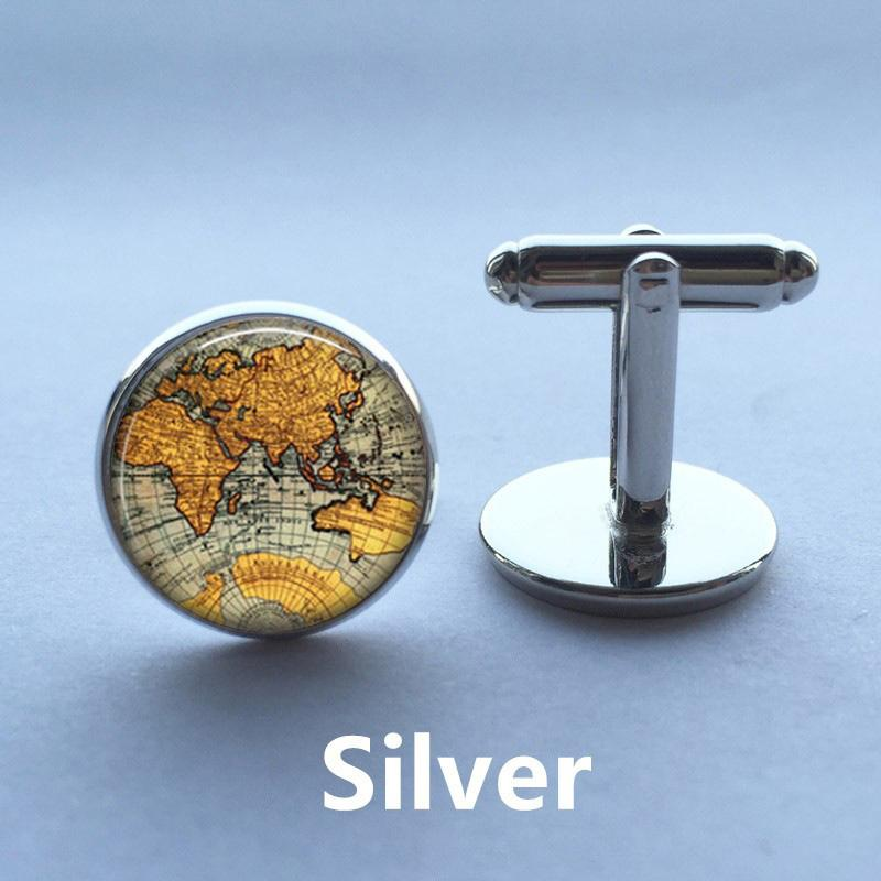Discount World Map Cufflinks Silver Plated Old