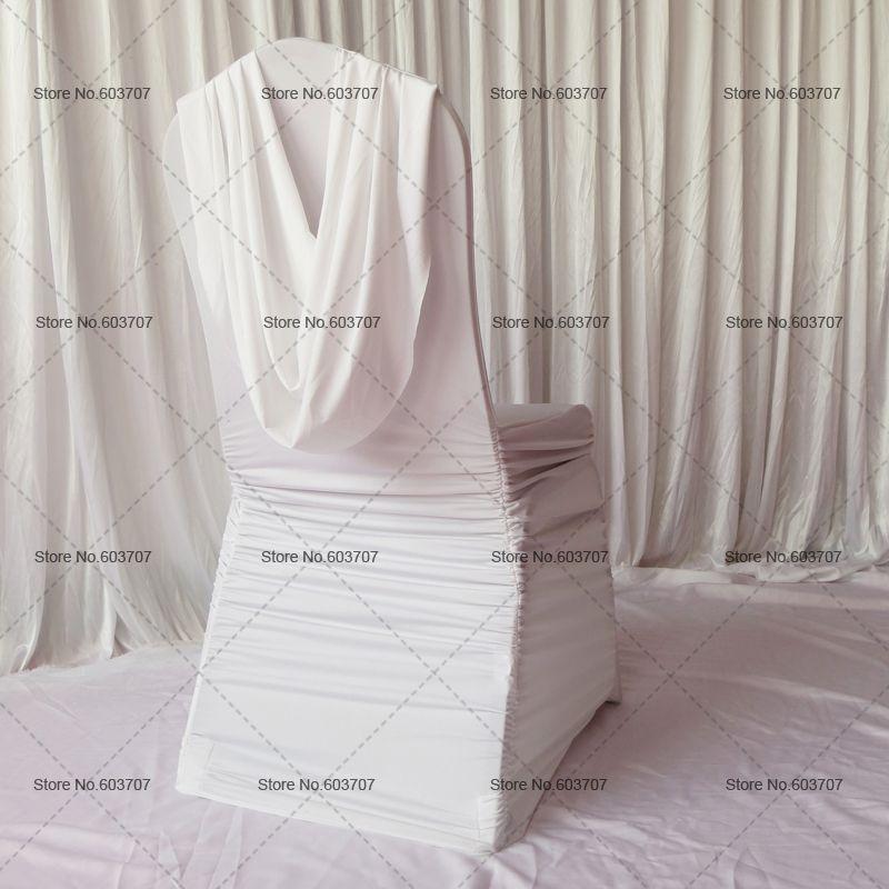 Livraison Gratuite Blanc Froncé Rousse Couverture De Chaise avec cantonnière à l'arrière pour la décoration de mariage