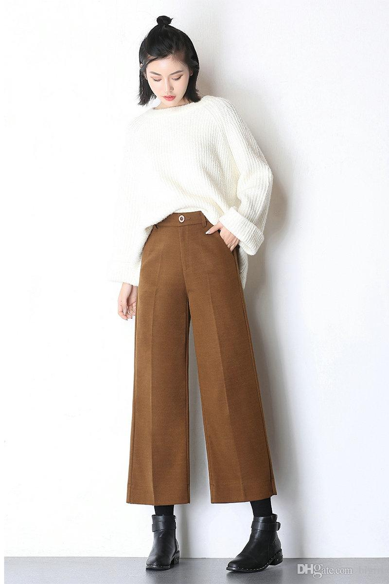 77cc437911 High Waist Wide Leg Pants Women 2017 Autumn And Winter New Fashion Women  Woolen Loose Pants Colorful Nine Pants Trousers Canada 2019 From Bigirl, ...
